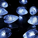C&S 20 LED Globe Solar Powered String Lights 5M Fairy Christmas solar String Lights, Waterproof outdoor lighing Decoration with Flexible Energy LED Strip Bulb Lamp Indoor Backyard Bedroom Living Room Gardens Homes Patio Lawn Tree Lawn Fence Window Holiday Wedding?Party(White Strawberry Lights)