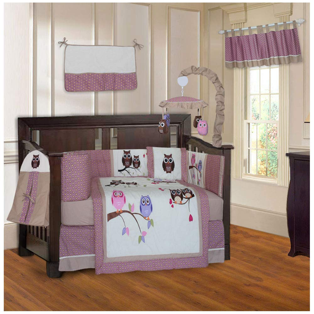 BabyFad Owl Pink 10 Piece Baby Crib Bedding Set