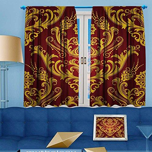 Damask Wallpaper Flower (Muyindohome Flower Design Foil Printed Grommet Thermal Insulated Window Panels Luxury red & gold floral damask wallpaper For Kidsroom, 72