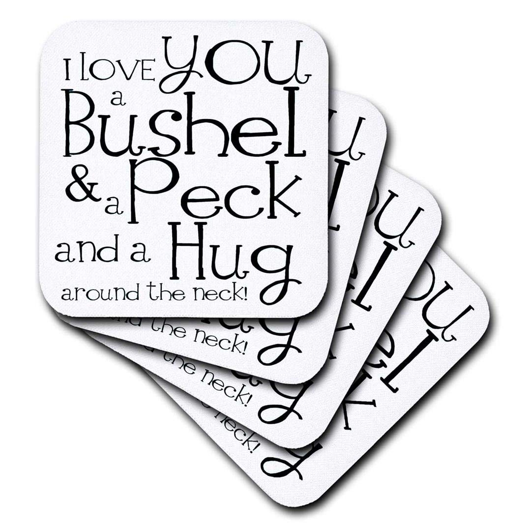 3dRose CST_193477_3 I Love You a Bushel and a Peck. White and Black. Ceramic Tile Coasters, Set of 4