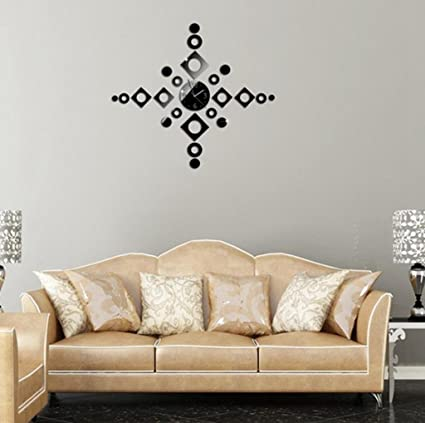 Amazoncom ALVA DIY Mirror rhombus combination Wall Sticker Clock