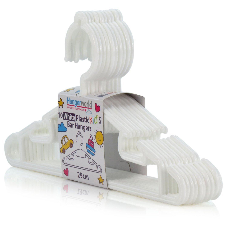 Hangerworld 10 Perchas 30cm Niños y Bebés Plástico Blanco con Barra Pantalón y Ganchos para Tirantes