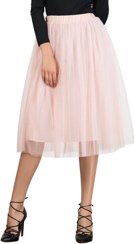 Joeoy Women's Elastic Waist Ballet Layered Princess Mesh Tulle Midi Skirt at  Women's Clothing store