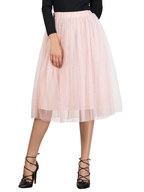 Joeoy Women's Elastic Waist Ballet Layered Princess Mesh Tulle Midi Skirt-XL