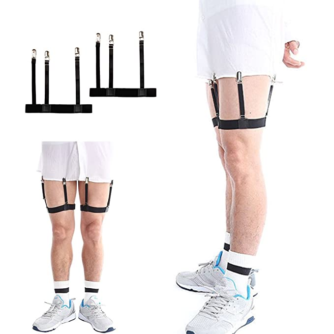 7c32522bb98 Mens Business Shirt Stays Uniform Holder Leg Thigh Elastic Garter Belt  Suspender Non-slip Locking