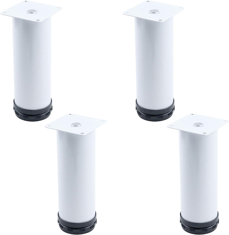 Quluxe 6-inch Adjustable Tall Metal Desk Legs, Office Kitchen Dinner Desk Furniture Leg Set- White (Pack of 4)