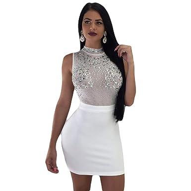9142e285d1937 MOOCARE Vestidos de Fiesta Mujer Ajustado Cortos Lentejuelas Vestido de  Moda Falda Elegante para Nochevieja Vestido