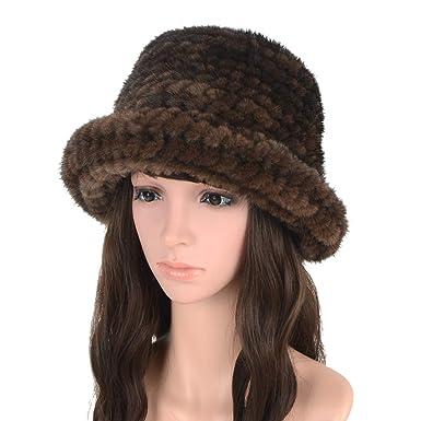 ab05c170 MH Bailment Women Mink Fur Knit Beanie Cap Winter Hats (One Size ...