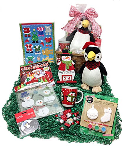 Children's Christmas Countdown Holiday Gift Basket Box - Advent Calendar, Plush Penguin, Craft Paint Set, Window Clings, Build A Bear Magnets, Coloring Book, Trivia & Chocolates (P)