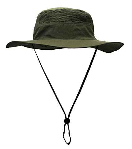 Outdoor Mesh Sun Caps Large Brim Bonnie Polyester Fishing Hats for Hiking  Hunting Army Green f7285d11d271