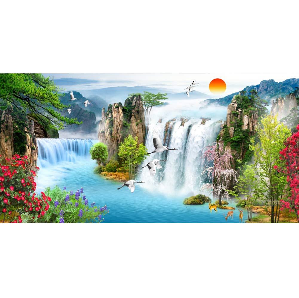 Canessioa 20x10フィート 美しい山の川 自然の風景 写真背景 赤の太陽 空飛ぶ鶴 水耕 魅力的な植物と花 風景 背景 写真ブース 撮影 スタジオ小道具   B07Q9K2KXR