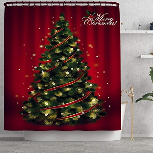 Amazon Com Artifun Christmas Bathroom Decorations Set Toilet Seat Cover Rug Shower Curtain Sets Red Christmas Tree Bathroom Decor Home Kitchen
