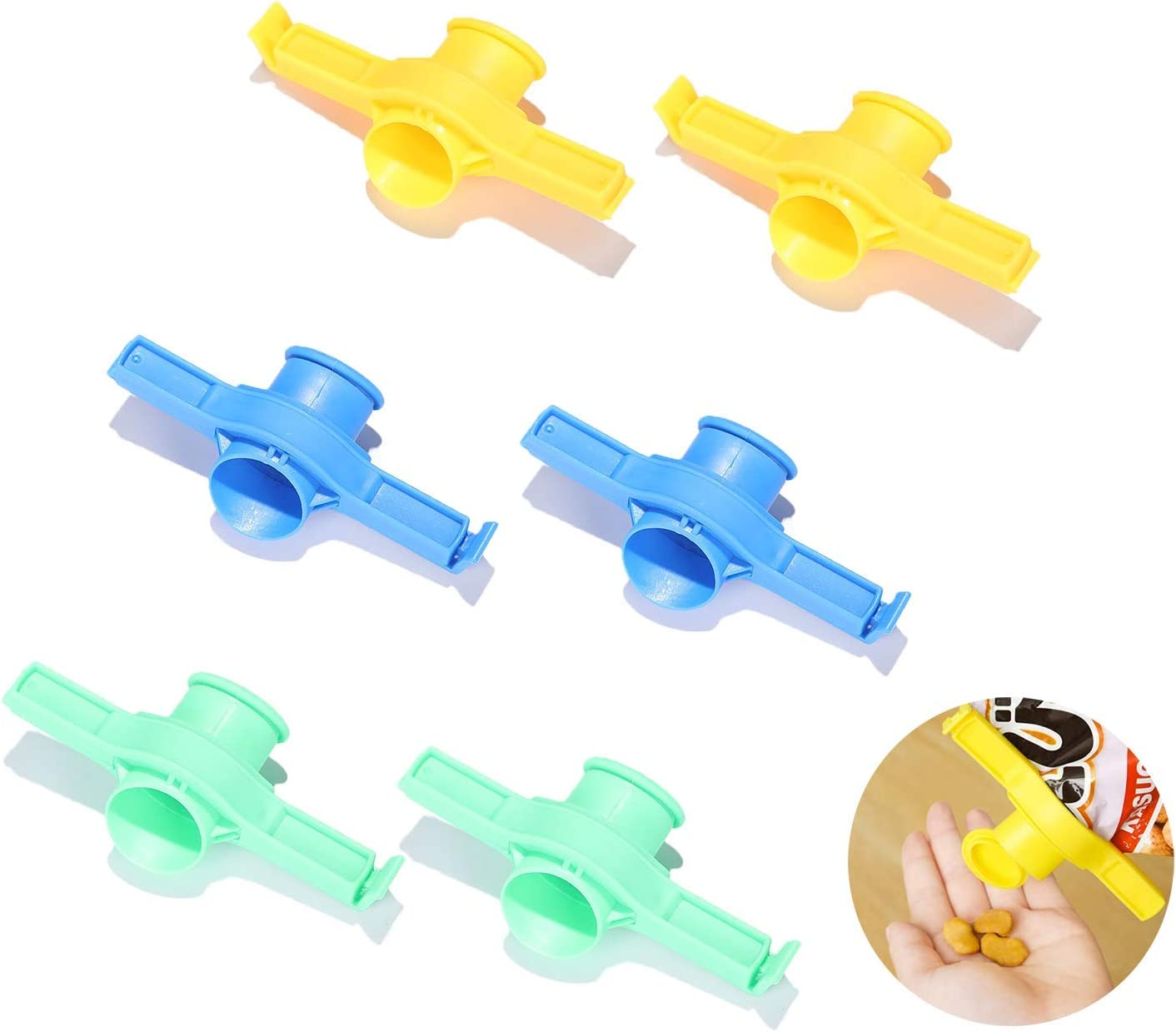 6 Pack Bag Clips for Food, Sealing Clamp with Pour Spouts, Plastic Cap Sealer Clips for Snack and Kitchen Food Storage and Organization (Small)