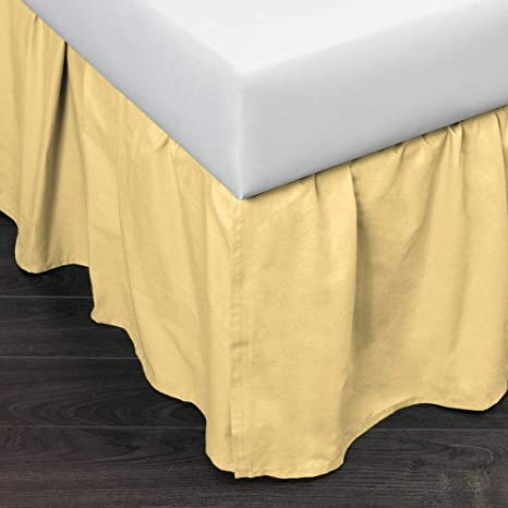Amazon Com 1 Piece Light Yellow Color Pattern Bed Skirt Twin Size