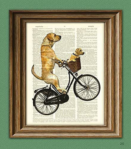 The Long Voyage Home Yellow labrador retriever and lab puppy dog on a bike upcycled Dictionary Page book art print