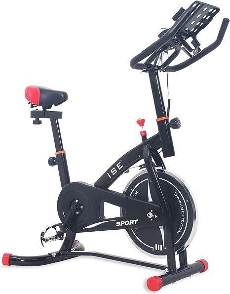 ISE Bicicleta Estática de Spinning con Sensor de Pulso, Ajustable Resistencia, Bicicleta para Fitness Profesional de Gimnasio Ejercicio con Grande Soporte Adecuado para iPad&Móvil, Negro, SY-7804S: Amazon.es: Deportes y aire libre