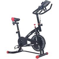 ISE Bicicleta Estática de Spinning Profesional con Sensor de Pulso, Ajustable Resistencia, Pantalla, Bicicleta Fitness de Gimnasio Ejercicio con Volante de Inercia, Sillín Ajustable, Máx.120kg, SY-7