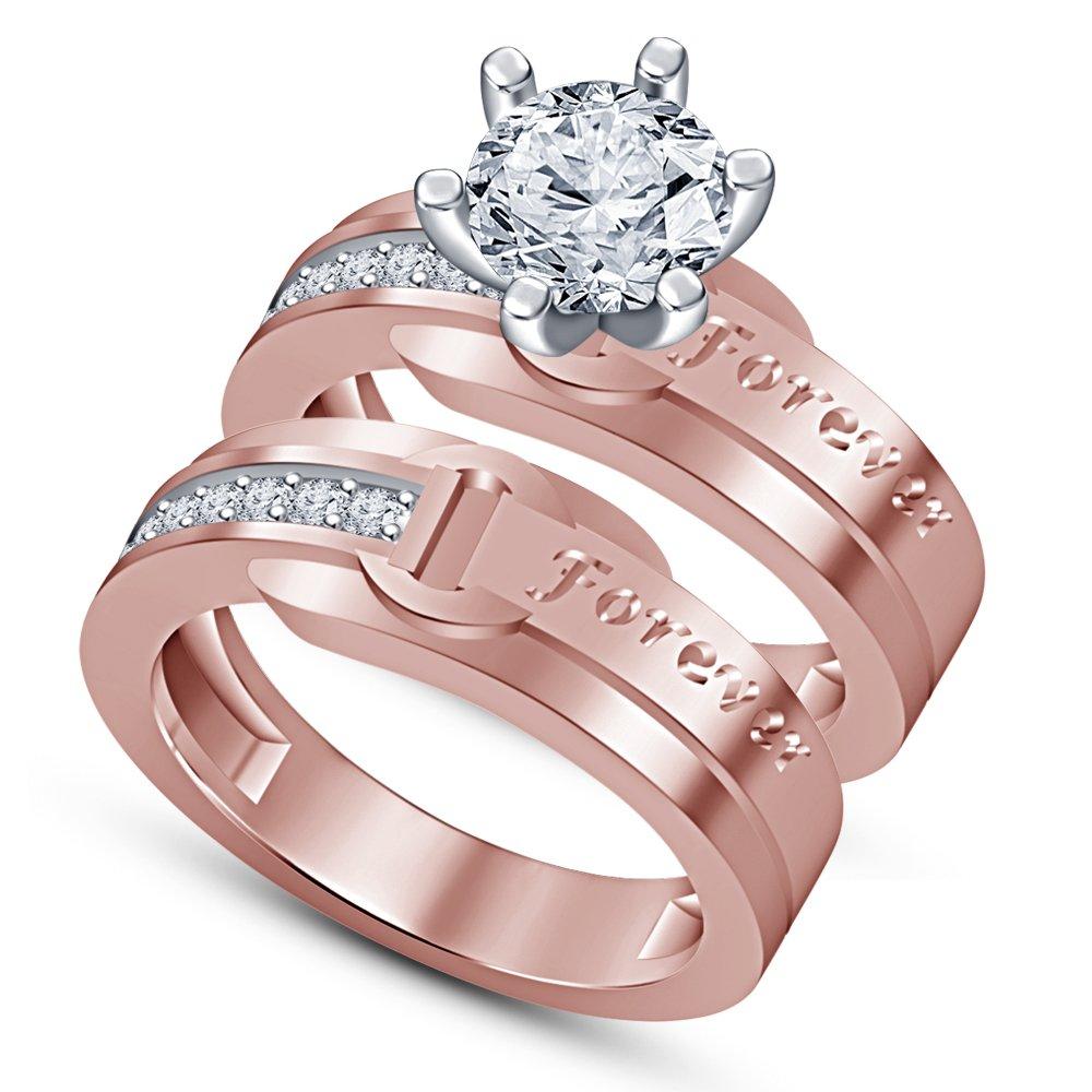 para mayoristas Vorra Fashion Juego de anillos anillos anillos para novia y aniversario, chapado en oro rosa de 14 quilates  entrega rápida