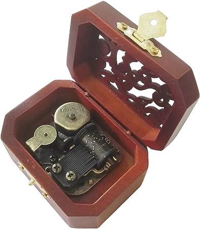 Antiguo Grabado de madera caja de música de cuerda, azul caja Musical de Danubio: Amazon.es: Hogar