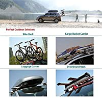 "MPH Production 2Pcs 50"" (127cm) Universal Fit Black Adjustable Aluminum Window Frame Roof Rack Rail Cross Bars Utility Cargo Carrier with 3 Pairs of Mounting Clamps (2 Pcs)"