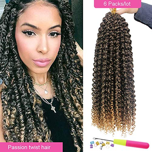 Eerya Passion Twist Hair 18 Inch Bohemian Braids for Passion Twist Crochet Hair Ombre Brown Hot Water Setting Itch Free Synthetic Fiber Natural Passion Hair (6Packs 18Inch, T27 Ombre Blonde)