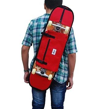 Porta skateboard mochila monopatin para llevar el skate de la forma más comoda para monopatines de hasta 8.5 pulgadas, color rojo: Amazon.es: Deportes y ...