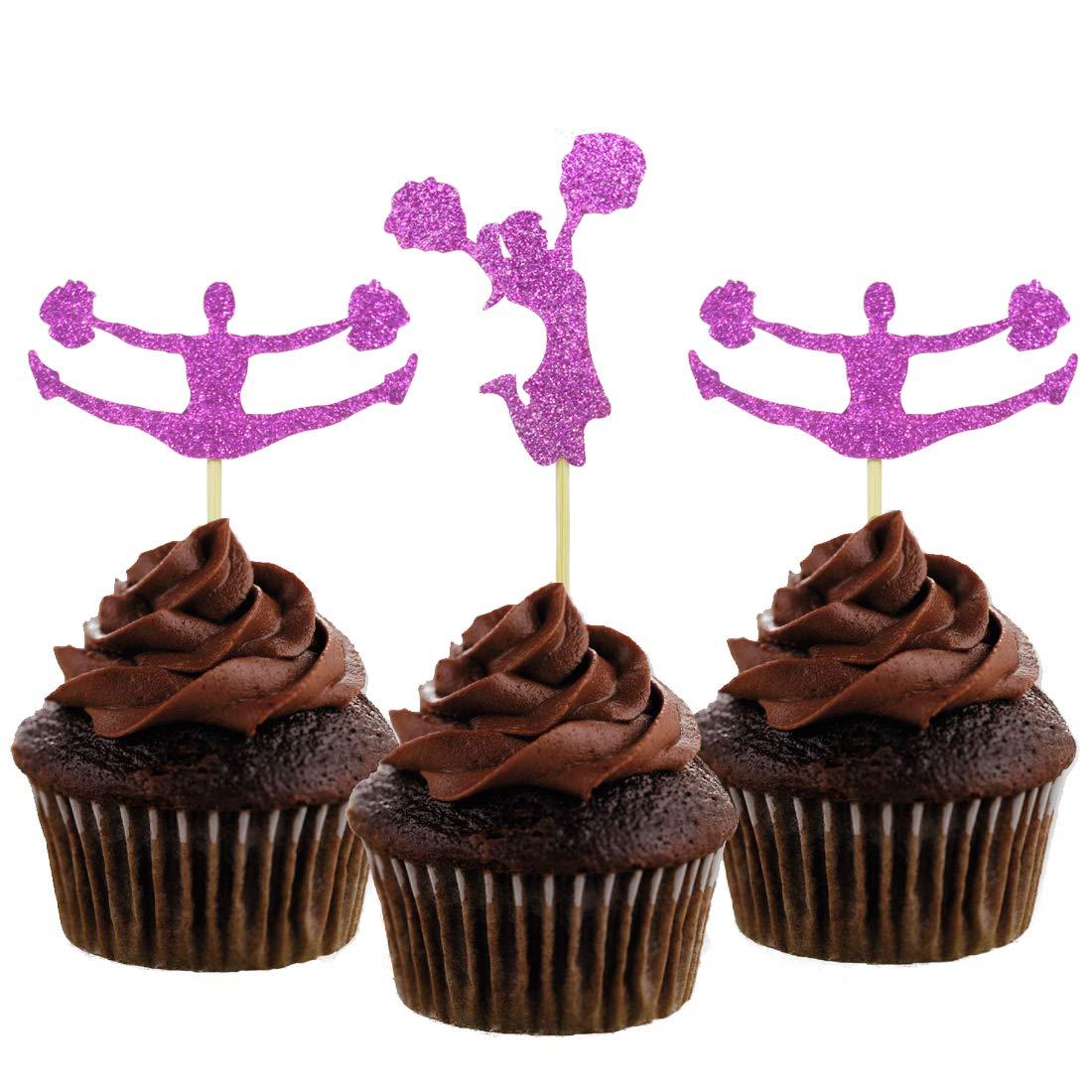Morndew - 24 adornos para cupcakes con purpurina, diseño de ...