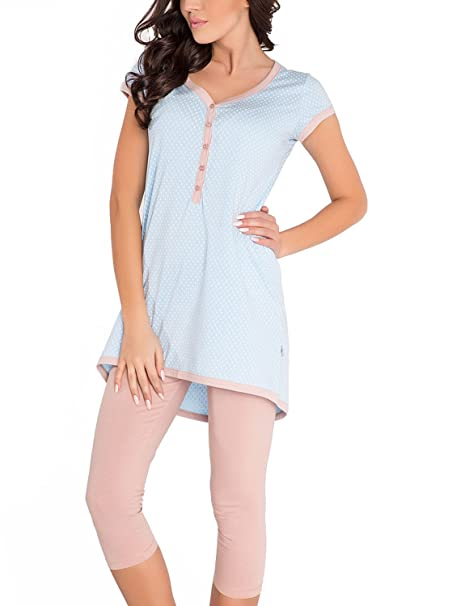 Dn-Nightwear PM.5037 Pijama Maternal, L, Azul Claro - Marrón