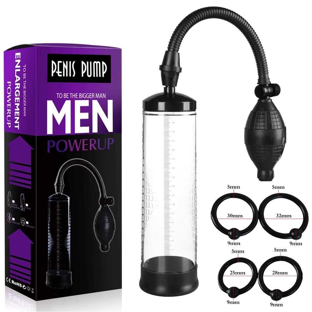 Male Enlargement Vacuum Pump for Man + 4 Rings, Vacuum Suction Pumps Enlargement, Powerful Mens Vacuum Profession Extender, Massager for Handsome