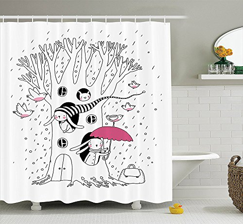 [Magic Home Decor Collection Minimalist Habitat Drawing with Rabbits Tree Hole Houses in A Rainy Day Hollow Design Polyester Fabric Bathroom Shower Curtain White] (Costume Design For Rabbit Hole)