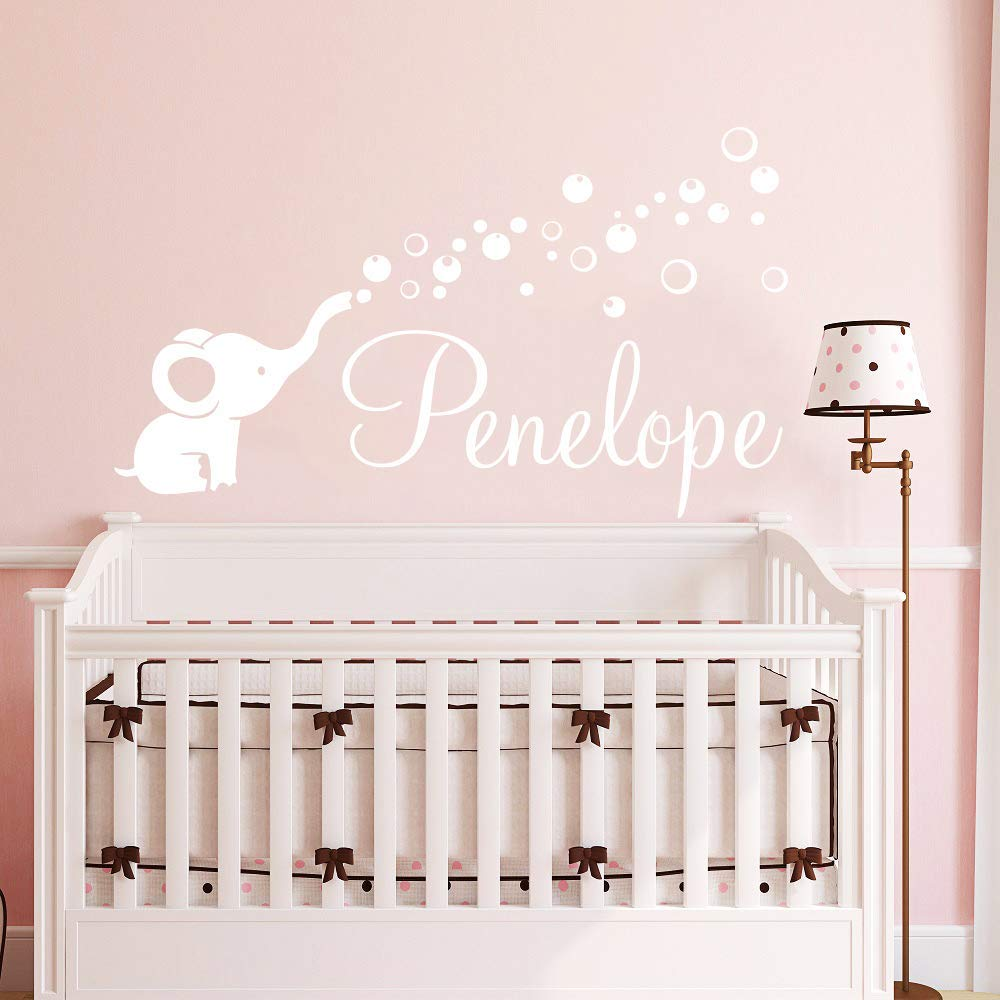 Elephant Wall Decals Name Nursery for Girl. Baby Girl Name Nursery Wall  Decor/Personalized Custom Name With Elephant Bubbles Vinyl Wall Art Decal