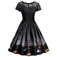 VICGREY ❤ Fashion Abito,Donne Manica Corta Halloween retrò Pizzo Vintage Dress Una Linea Zucca Swing Dress Eleganti Vestiti Mini Abiti Vestito Elegante