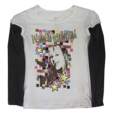 Disney Little Girls White Black Hannah Montana Star Print Long Sleeve T-Shirt 4