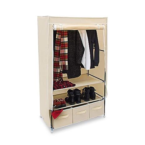 Faltschrank VALENTIN L Stoffschrank 3 Schubladen 2 Ablagen Kleiderschrank Stoff