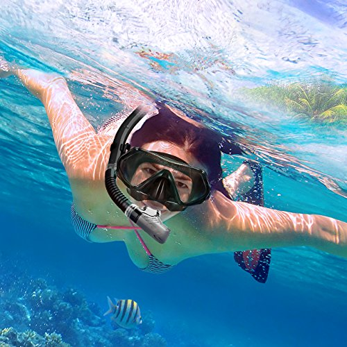 Scuba dive mask. Mpow Snorkel Mask, Scuba Diving Mask for Snorkeling Diving Swimming, Easy Breath Scuba Snorkeling Gear with Silicon Mouth Piece and Easy Adjustable Strap (Black)