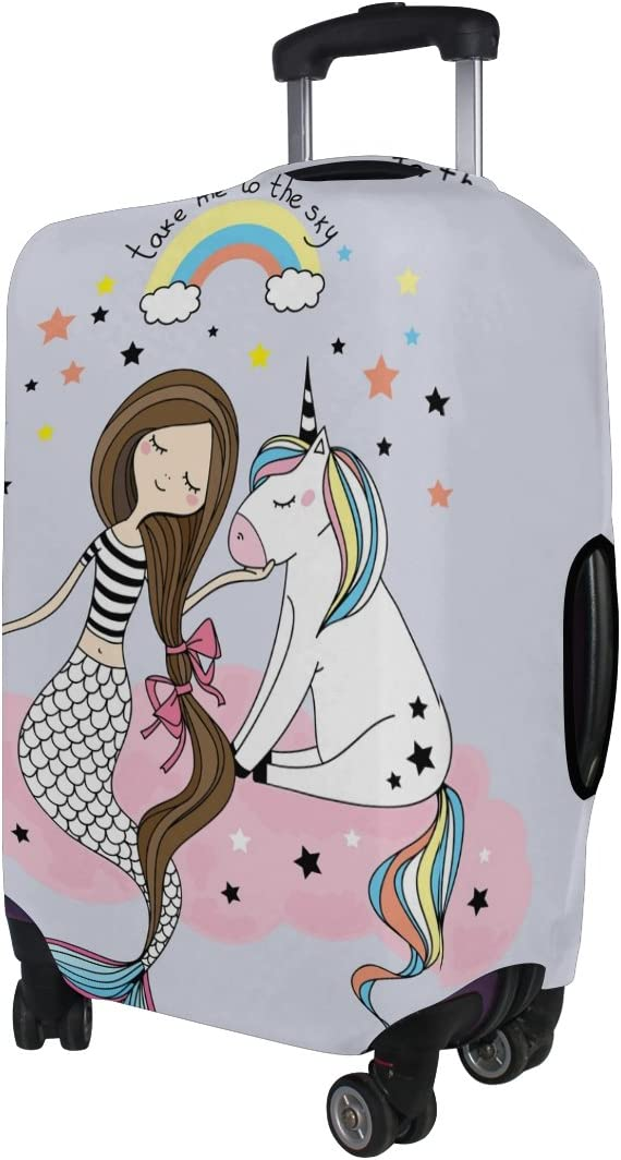 Happy Rainbows Unicorns Travel Luggage Cover Suitcase Protector Fits 22-24 inch Luggage