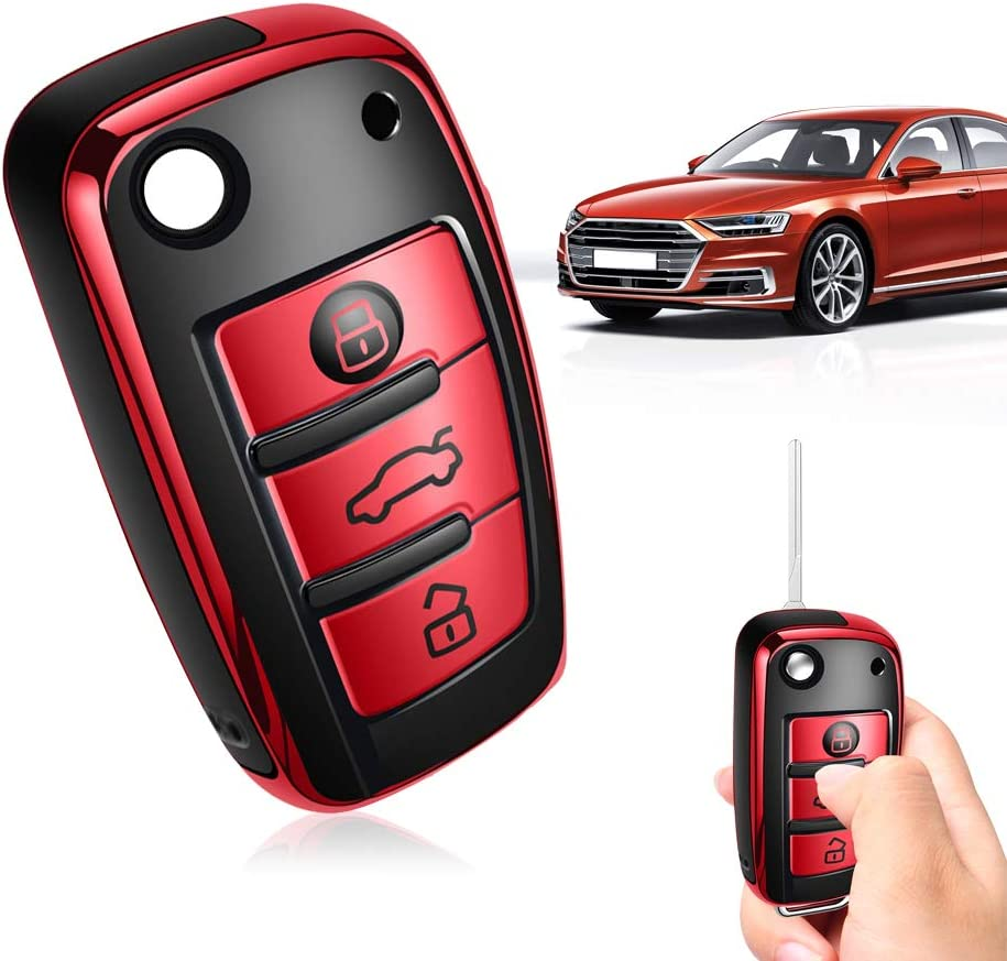For Audi CAR Key Fob Case Shell Smart Remote Key Fob fits Audi A1 A3 A6 Q2 Q3 TT TTS R8 S3 S6 RS6 RS3 etc Red cover