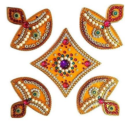 Ss Craft Creations Handcrafted Decorative Diwali Rangoli Set - Multicolor Jewel Stone/ Kundan Decorations On Yellow Acrylic Base - 5 Piece Set