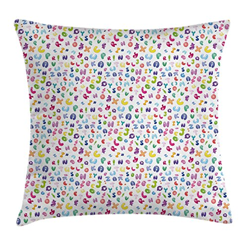 Bubble Chair Club (Ambesonne Kids Decor Throw Pillow Cushion Cover, Cute Colorful Alphabet ABC Bubble Letters Doodle Style Fun Childish Nursery Design, Decorative Square Accent Pillow Case, 18 X 18 inches, Multi)