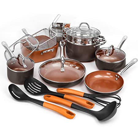 SHINEURI 19 Pieces Nonstick Ceramic Copper Cookware Set – 5 Piece Set Square Pan and Fry Pans, Kitchen Cooking Utensils, Steamer and Sauce pan with Glass lid for Induction, Gas, Electric Stovetops