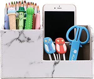 BTSKY Desk Pen Pencil Holder Leather Multi-Function Desk Stationery Organizer Storage Box Pen/Pencil, Cell Phone, Business Name Cards Remote Control Holder (Marble)