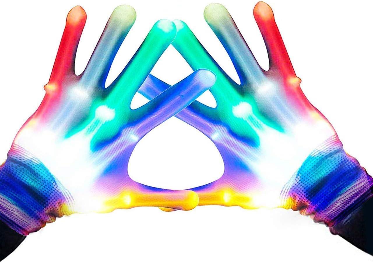 Guantes LED, Guantes de Mano Esqueleto Rainbow Flash 5 Modos de 6 Colores Que Brillan para Festivales/Halloween/Navidad/Noche de Hogueras/Fiesta/Juegos/Regalo,Niños (5-10 años Arco Iris)
