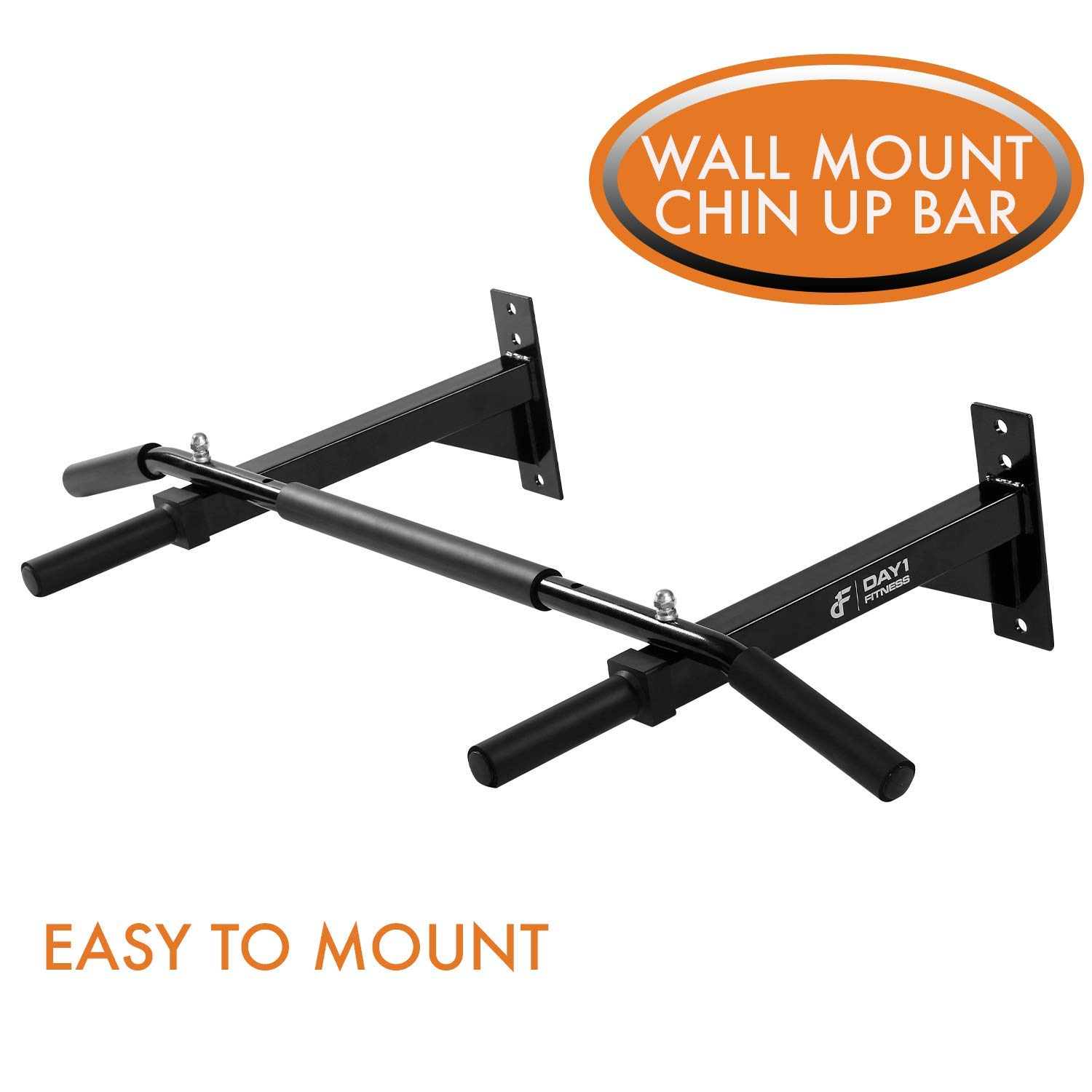 Wall Mounted Chin-Up Bar by Day 1 Fitness with Padded Foam Grips, Holds up to 400 lbs -Heavy-Duty,Steel Pull-Up Bar for Home, Includes all Mounting Hardware-Workout Pull-Up Equipment for Leg Raises