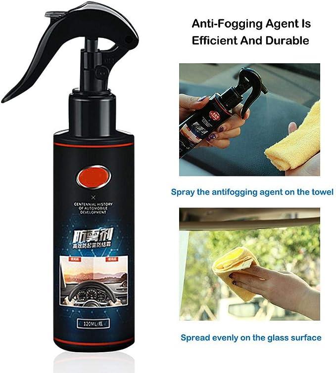 Mona43Henry Desempañador de la ventanilla del Coche Anti Niebla Limpiador de vidrios Automóvil Ventana Delantera Vidrio líquido Vidrio Desempañador Agente 120ML: Amazon.es: Coche y moto