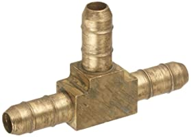 "Parker Hannifin 224-4 Dubl-Barb Brass Body Union Tee Fitting, 1/4"" Barb Tube x 1/4"" Barb Tube"