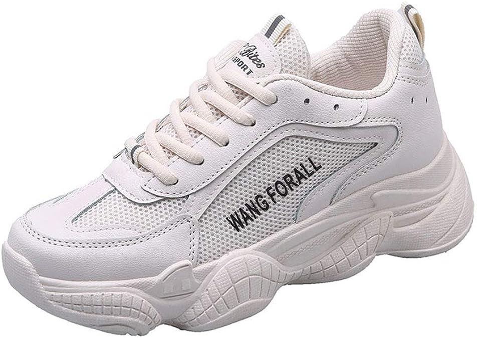 Zapatillas Blancas para Mujer Zapatillas de Goma Planas y Suaves para Mujer Zapatos Deportivos Transpirables con Cordones Calzado Antideslizante para Campo traviesa: Amazon.es: Zapatos y complementos