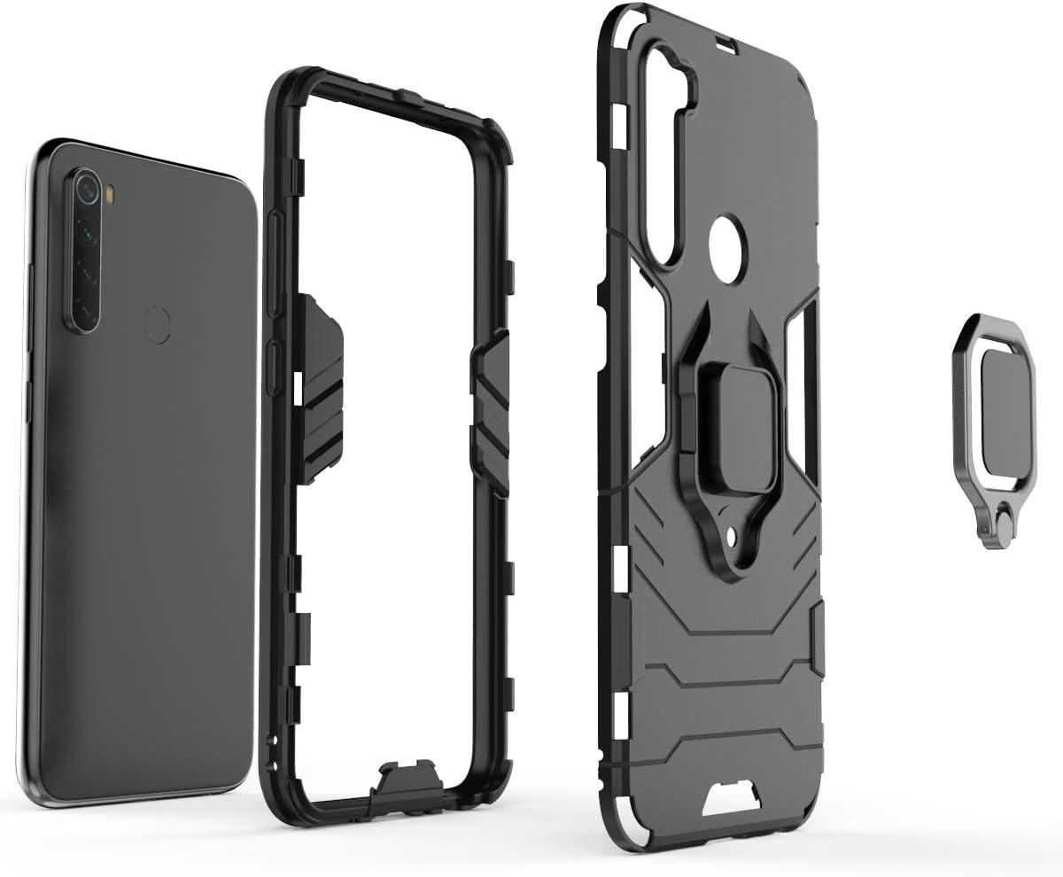 TPU Gel Silicone Antichoc Armure Housse Etui pour Xiaomi Redmi Note 8 Ougger Coque pour Xiaomi Redmi Note 8 avec Anneau Support Double Couche Renforc/ée D/éfense Bumper Hard PC Noir