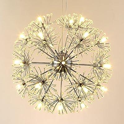 SEOL-LIGHT Modern Crystal Chandeliers pendant Lamp For Corridor, Veranda, Bedroom, Bathroom, Dining Room,Living Room Retro Creative Dandelion Fixture with 24 light ,Max 72W Bulbs Included
