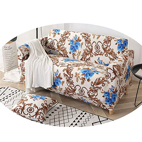 ZFADDS Sofa Cover Printed Flowers Slipcover Tight Wrap Corner Sofa Cover Stretch Furniture Covers 1/2/3/4 Seater,Blue Rose,1Seater 90-140Cm (Piece Bunnings Furniture Outdoor 3)