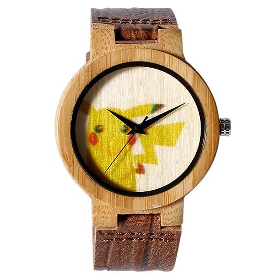 Pokemon Go Reloj de Madera, Correa de Piel, diseño de Pikachu, Reloj de bambú, Reloj de Pulsera de Cuarzo: Amazon.es: Relojes